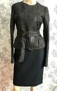 Yves Saint Laurent Tom Ford Era Womenand039s Black Belted Leather Jacket 40 Mint