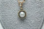 A 19th C. Pearl Mounted With Rose Cut Diamond Pendant And 9ct Gold Chain.