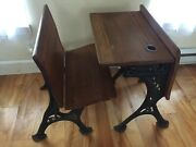 Antique School Desk And Chair With Folding Seat, Wood And Wrought Iron