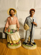 Homco African American Farmer's Couple Porcelain 10in Figurines 1456 Rare
