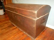 Antique German Immigrant Dome Top Trunk Chest Blanket Steamer Ship
