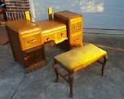 Antique Art Deco 2 Pc Waterfall Tall Chest Dresser And Mirror Vanity W Bench