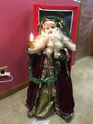 """Animated Vintage Old Fashioned Santa W/box 32"""" Tall Lights Up Telco"""