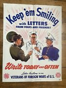 1940's Wwii Poster Keep Em Smiling With Letters By Ladies Auxiliary