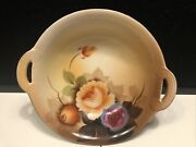"""Antique Noritake 'm' Hand Painted 6"""" Bowl Peach Purple Roses With Handles"""