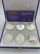 2002 Harry Potter Isle Of Man Proof 1 Crown .925 Sterling Silver 6-coin Set