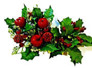 2-artificial Small Candle Rings Apples And Pine Cones,holly And Berry 1