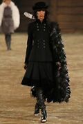 Stunning Authentic Runway 2014 Black Wool Suit Jacket Skirt Size 40