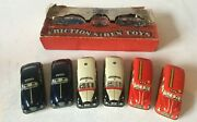 Vintage Mettoy Playthings Tin Plate Friction Siren Police Fire Ambulance Cars