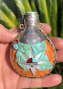 Old Pawn Navajo Pueblo Turquoise Spiny Oyster Sterling Sunface Canteen Tobacco