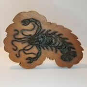Rare And Unique Vintage Wood And Brass Lobster Trivet Wall Art Décor Sculpture Metal