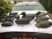 9 Vintage Hunting Duck Decoys - 8 Sport Plast Italy Carry Lite And 1 Herters Lot