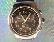 Swatch Irony Four 4 Jewels Men Watch Silver Brown Laether