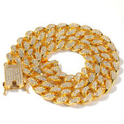 Hip Hop Necklaces 20mm Cuban Chains Bling Rhinestones 18k Gold And Silver Plated