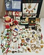 Lot Vintage Modern Christmas Jewelry Necklaces Pins Earrings Bracelets Ornaments