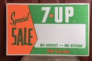 Vintage 7up Soda Uncola Gas Station Country Store Advertising Sale Special Sign