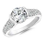 Christmas Gift 1.05 Ct Real Diamond Engagement Ring Solid 18k White Gold Size 8