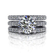 Real 1.95 Ct Round Anniversary Band Set For Women Solid 18k White Gold Size 8 9