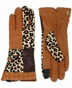 Cheetah Patchwork Leather And Suede Gloves Womenand039s Size Medium Sealed