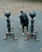 Pair Huge Large Cast Iron Bradley And Hubbard Andirons