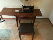 Vintage Tested Singer Sewing Machine Model 15 Simanco 125255 W/ Table And Stool