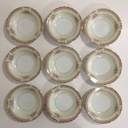 """Noritake China 5.75"""" Bowls Lot 9 Made In Occupied Japan C. 1947-1953 Floral Gold"""