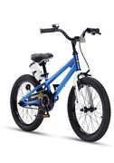 Boys Girls Freestyle Bicycle 18 In Wheel Size Blue Bike With Kickstand A D16