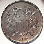 Rpd 1865 Two Cent Piece Uncirculated Unc Repunched Date Fs-1302 Variety 2c Coin