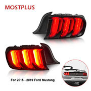 Red Led Tail Lights Rear Lamps For 15-20 Ford Mustang W/ Sequential Turn Light