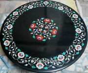42 Inches Marble Hallway Table Black Coffee Table Top Inlay Work Home Furniture