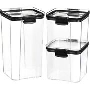 20xairtight Pantry And Kitchen Storage Containers 3 Square Plastic Food