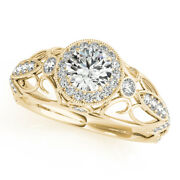 0.90 Ct Round Real Diamond Engagement Ring For Women 18k Yellow Gold Size 7 8 9