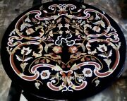 42 Inches Black Marble Dining Table Top Handmade Bar Table Top With Mosaic Art