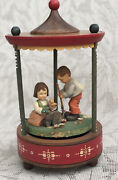 Vintage Anri Thorens Wooden Movement Music Box Gazebo Love Story Boy Girl
