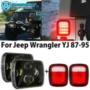 7x6 Projector Led Headlight Hi/lo Andtail Reverse Lamp For Jeep Wrangler Yj 87-95