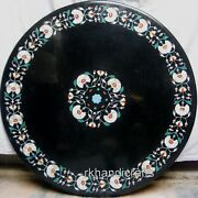 48 Inches Marble Patio Dining Table Top Inlay Office Table With Turquoise Stone
