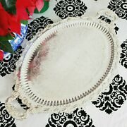 Vintage Sheffield Reproduction Large Silver Plated Oval Butler Tray Serving Tray