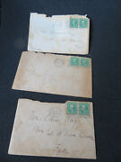 Rare Lot Of 6 Green George Washington 1 Cent Stamps And Letters 1912
