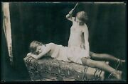 Aa00 Biederer French Nude Woman Lesbian Whip Punishment Old C1925 Photo Postcard