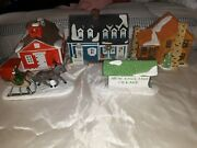 Vintage Dept. 56-3 Houses Horse And Sleigh Town Sign Christmas Lighted 1986-89