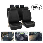 Pu Leather Car Seat Covers 9pcs Breathable Universal Cushion Frontandrear Interior