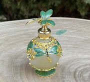 Dragonfly Vintage-style Metal Glass Perfume Bottle 25ml In Emerald Green