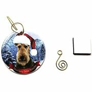 Imprints Plus Airedale Christmas Ornament 3 Porcelain Gift-boxed With Tree Hook