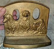 Gorgeous Vintage Brass Bookend Desk Pen Tray 3 Dogs Dachshund Detailed Doorstop