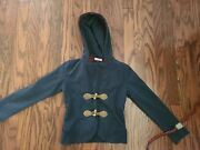 Monnalisa Blue Embroidered Crown Sequined Watch Hoodie Toggle Jacket, Sz Girls 8