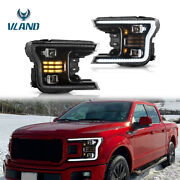 Set2 Upgraded Front Full Led Headlight W/sequential Signal For 18-20 Ford F150