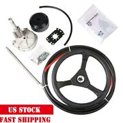 Boat Rotary Steering System Outboard Kit 14 Feet Cable Marine With 13 Wheel