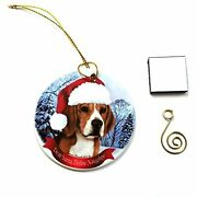 Imprints Plus Beagle Christmas Ornament 3 Porcelain Gift-boxed With Tree Hook