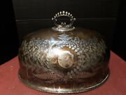 Large Antique English Silver Plate Dome Victorian Engraved Food Cover Awesome