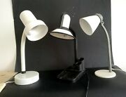 Lot Of 3 Table Lamps Vintage Gooseneck Goose Neck Small Table Light White Fase